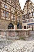Famous Herterichsbrunnen fountain in Rothenburg — Stock Photo