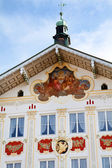 Facade of traditional houses in the town of Bad Toelz, Upper Bavaria — Stock Photo