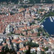 The small town of Como in Italy, Lombardia, from above — Stock Photo