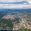 Stock Photo: Lake Como, Italy, with view to town Cernobbio and swiss alps