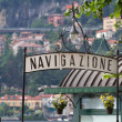 Signpost for a landing stage at lake Como, Italy - Stock Photo