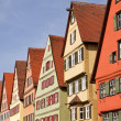 Stock Photo: Facade of medieval houses in Dinkelsbuehl, Franconia, Germany