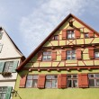 Facade of medieval houses in Dinkelsbuehl, Franconia, Germany — Stock Photo