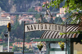 Signpost for a landing stage at lake Como, Italy — Stock Photo