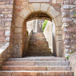 Historic Archway inside Mont Orgueil Castle in Gorey, Jersey, UK - Stock Photo