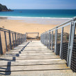 Stock Photo: Wooden staircase to Greve de Lecq Beach, Jersey, UK