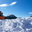 Royalty-Free Stock Photo: Winter landscape with snow plough and blue sky