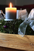 Advent wreath with burning candle — Stock Photo