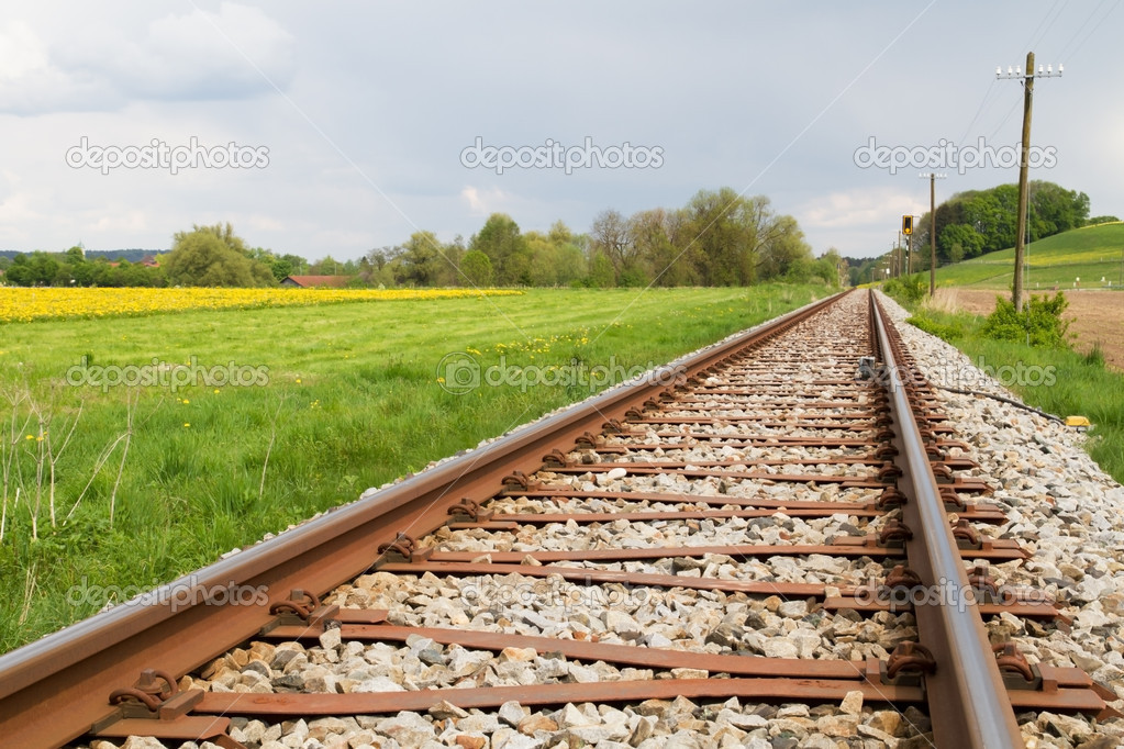 Railway Line in Spring in Germany  Stock Photo #9272030