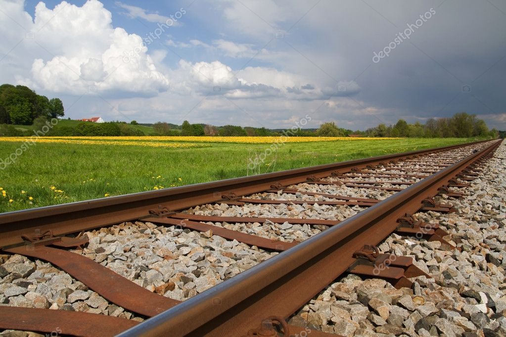 Railway Line in Spring in Germany — Stock Photo #9272033