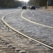 Tram rails in historic Munich, Germany, at night — Stock Photo