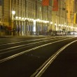 Tram rails in historic Munich, Germany, at night — Stock Photo #9859321