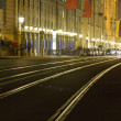 Tram rails in historic Munich, Germany, at night — Stok fotoğraf