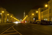 Well known city street in Munich, Germany, at night — Stock Photo