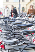Public bicycles in Munich downtown, Germany — Stockfoto