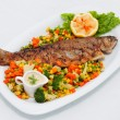 Roasted fish with vegetables — Stock Photo #10494009