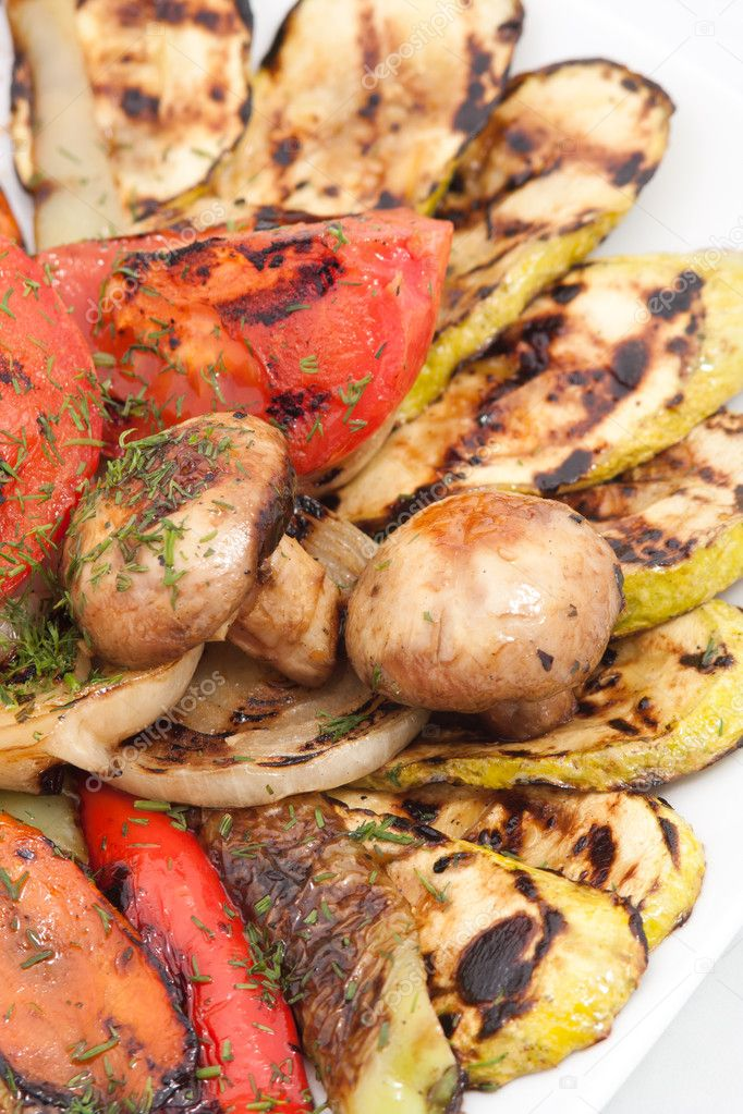 Roasted vegetables decorated with parsley — Stock Photo #10494028