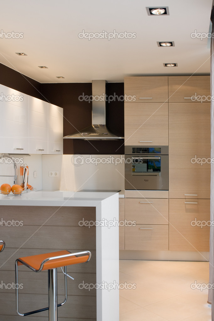 Photograph of modern kitchen and board.  Stock Photo #9202696