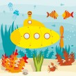 Submarine in ocean - Stock Vector