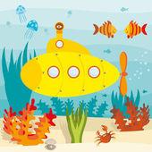 Submarine in ocean — Stock Vector