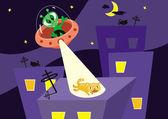 Alien and cat — Stock Vector