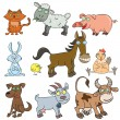 Farm animals doodle icon set — Stock Vector