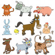 Stock Vector: Farm animals doodle icon set