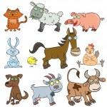 Farm animals doodle icon set — Stock Vector #10648811