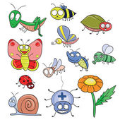 Insects doodle set — Stock Vector