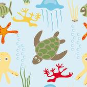 Sea animals pattern — Stock Vector
