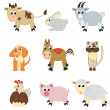 Stock Vector: Set of farm animals