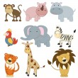 Cartoon african animals set - Stock Vector
