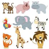 Cartoon african animals set — Stock Vector