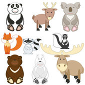 Cute cartoon animals set on white background — Stock Vector