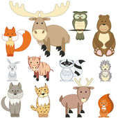 Forest animals set — Stock Vector