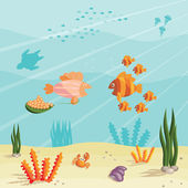 Life of small fishes — Stock Vector