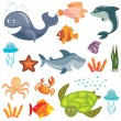 Marine animals set — Stock Vector #9919764