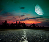Moonlit road — Stock fotografie