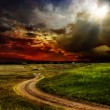 Beautiful view of the sunset in a field on a rural road — Stock Photo #9245614