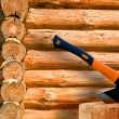 Wall from logs. Russian log hut — Stock Photo