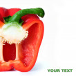 Fine, red sweet pepper on a white background — Stockfoto