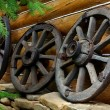 Old wheels from a cart — Stock Photo