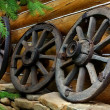 Stock Photo: Old wheels from cart