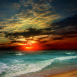 Folly Beach Ocean Sunset Landscape seascape scene in the Indian Ocean — Stock Photo