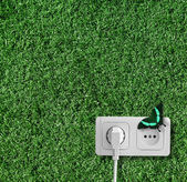 Plug and socket on the grass — Stock Photo