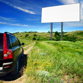 Blank billboard in the beautiful landscape, appropriate for your ady — Stock Photo