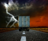 Truck on a road in the evening — Stock Photo