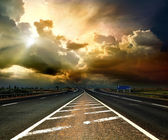 Old highway in storm weather — Stock Photo