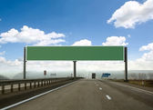 Billboard on the highway. Skyline — Stock Photo