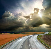 High-speed highway against the blue sky — Stock Photo